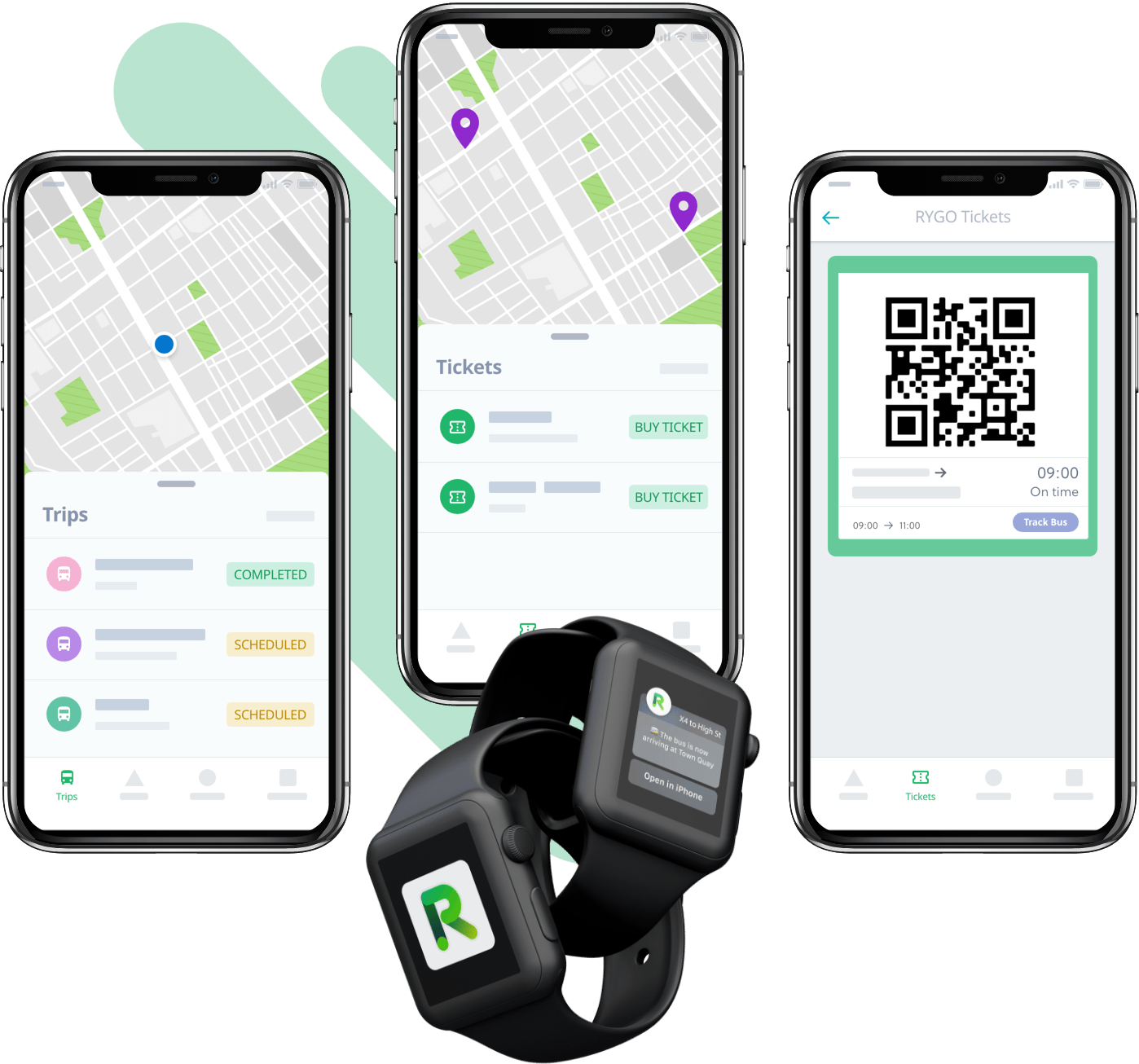 Devices Mockup of the Rygo product showcasing the Passengers app screens when the user can see the location of the bus, buy tickets and get digital tickets also on the watch and wereables