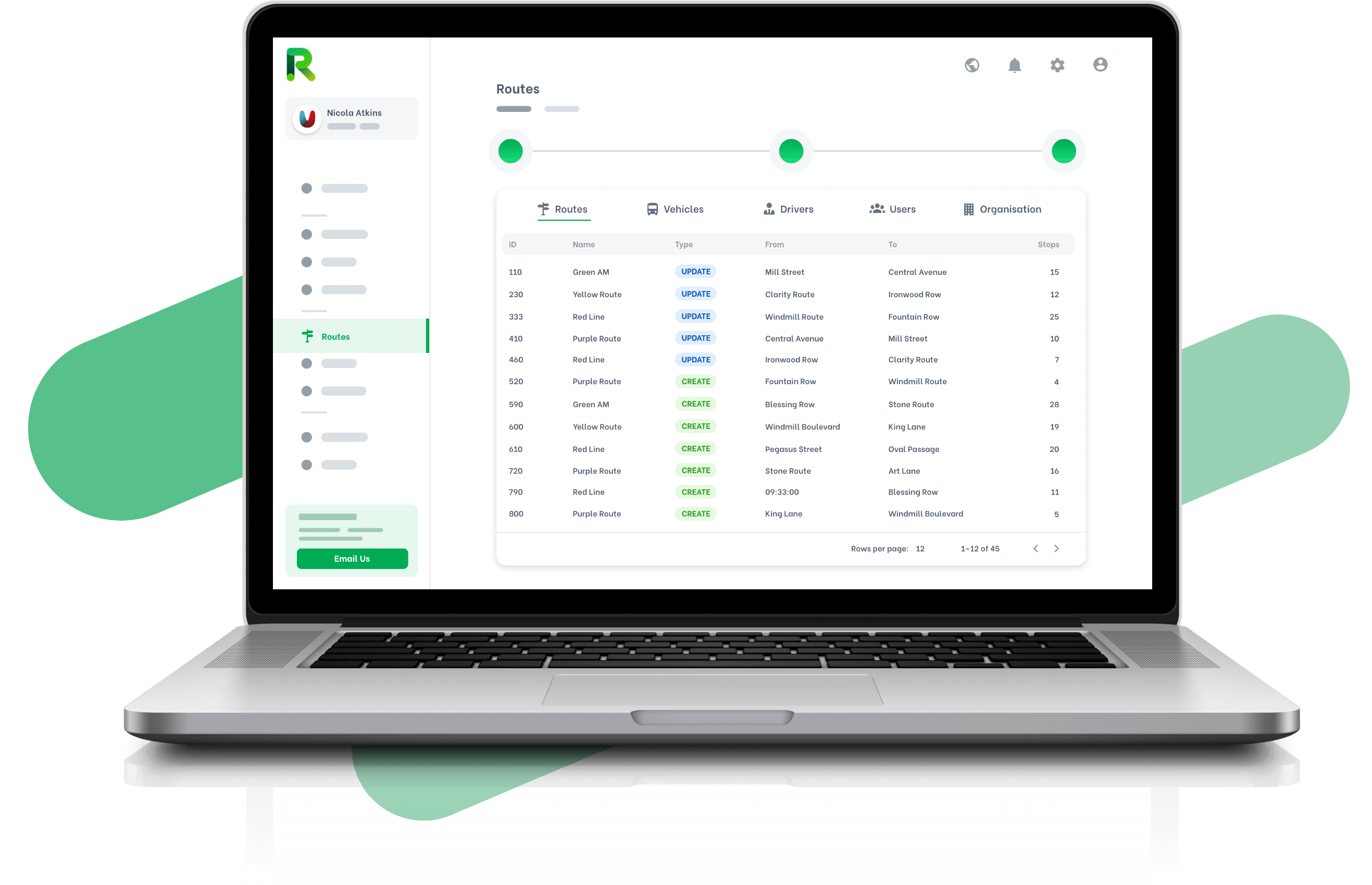 Computer mockup of the RYGO product that showcase the Route information with all the details provided to Admins