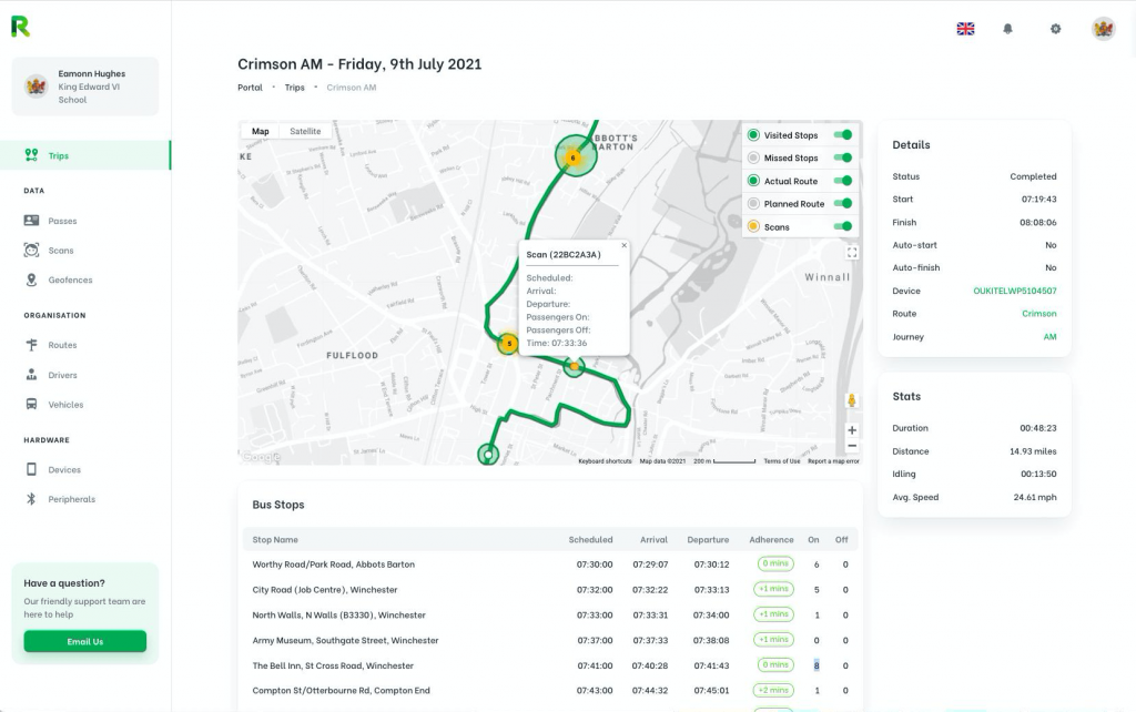 Computer mockup of the RYGO product that showcase the app dashboard with the user scans along the route, Admins can see Authorised Passengers.