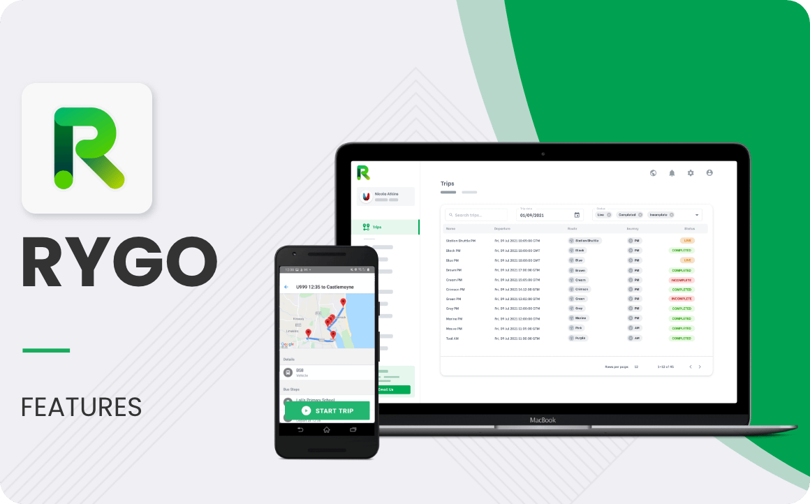 Computer mockup of the RYGO product that showcase the Trips information with all the details and Trip Statuses